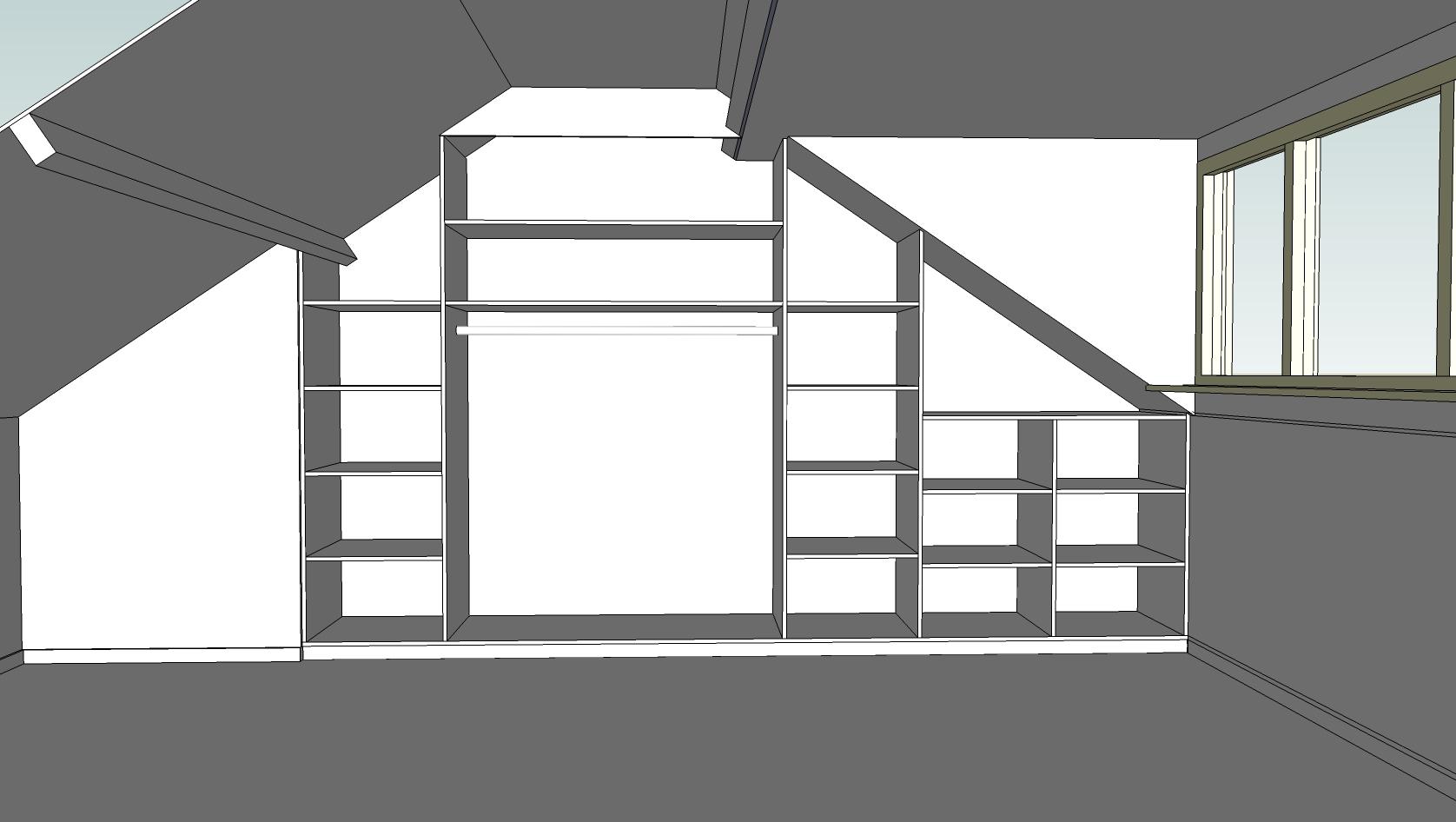 Digitaal 3d ontwerp inbouwkast bouwbedrijf h van sluis for 3d schets maken